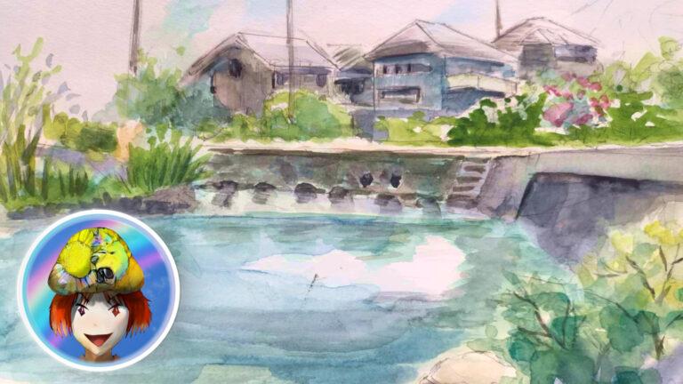 江川・鴨島公園。スケッチ。