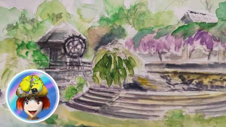 神山町。農村ふれあい公園をスケッチ。