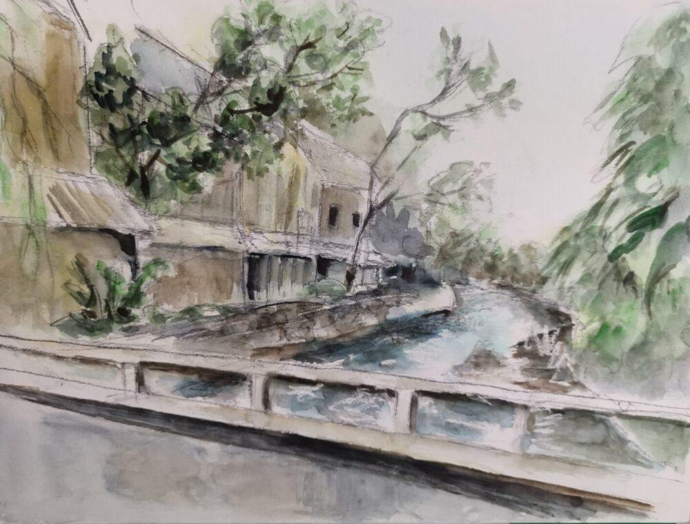 道の駅「ひなの里かつうら」の周辺。川面と街並