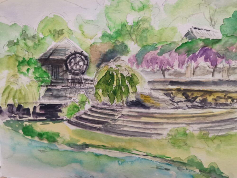 神山町、農村ふれあい公園をスケッチした。