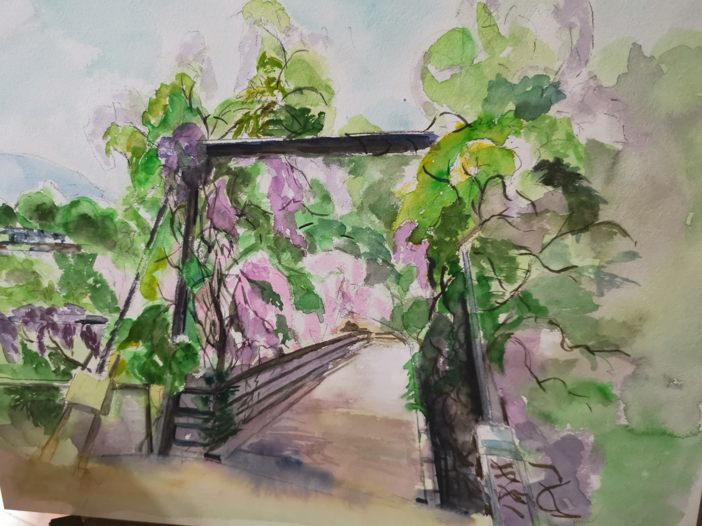 徳島県神山町。ふれあい橋をスケッチ。