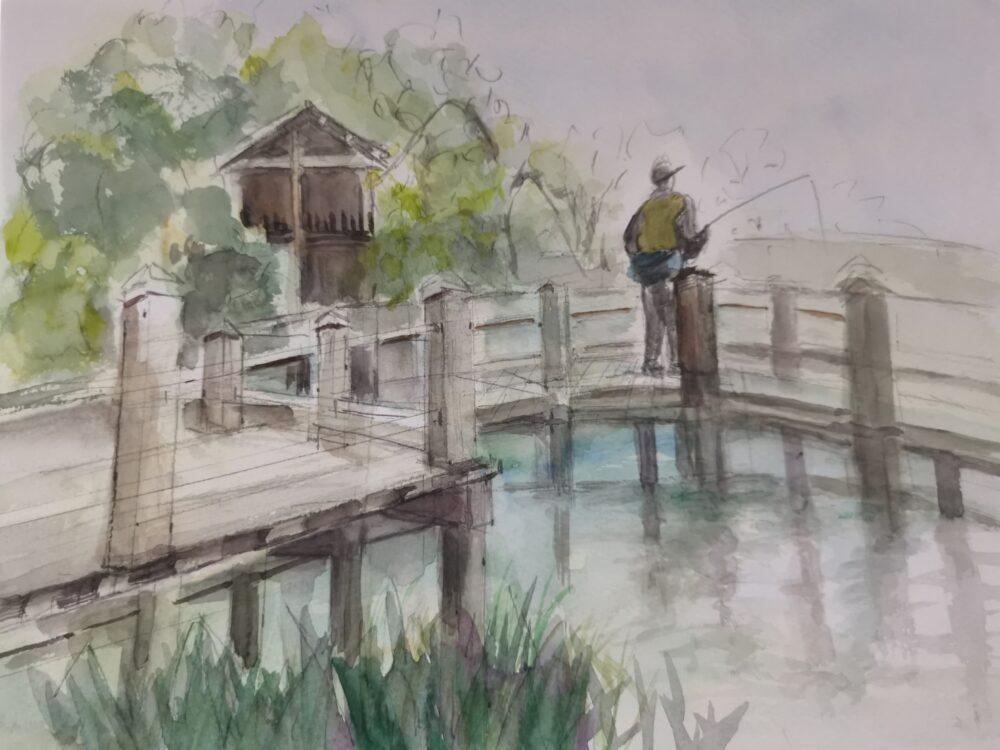 地蔵院池緑地で釣り人をスケッチ