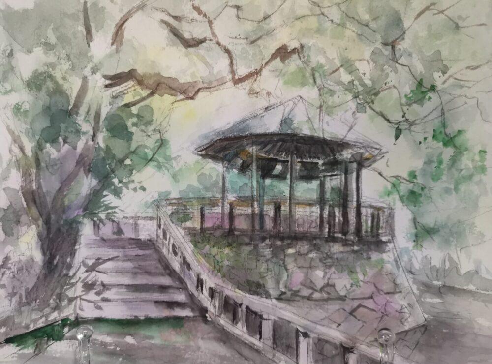 地蔵院池緑地のスケッチ