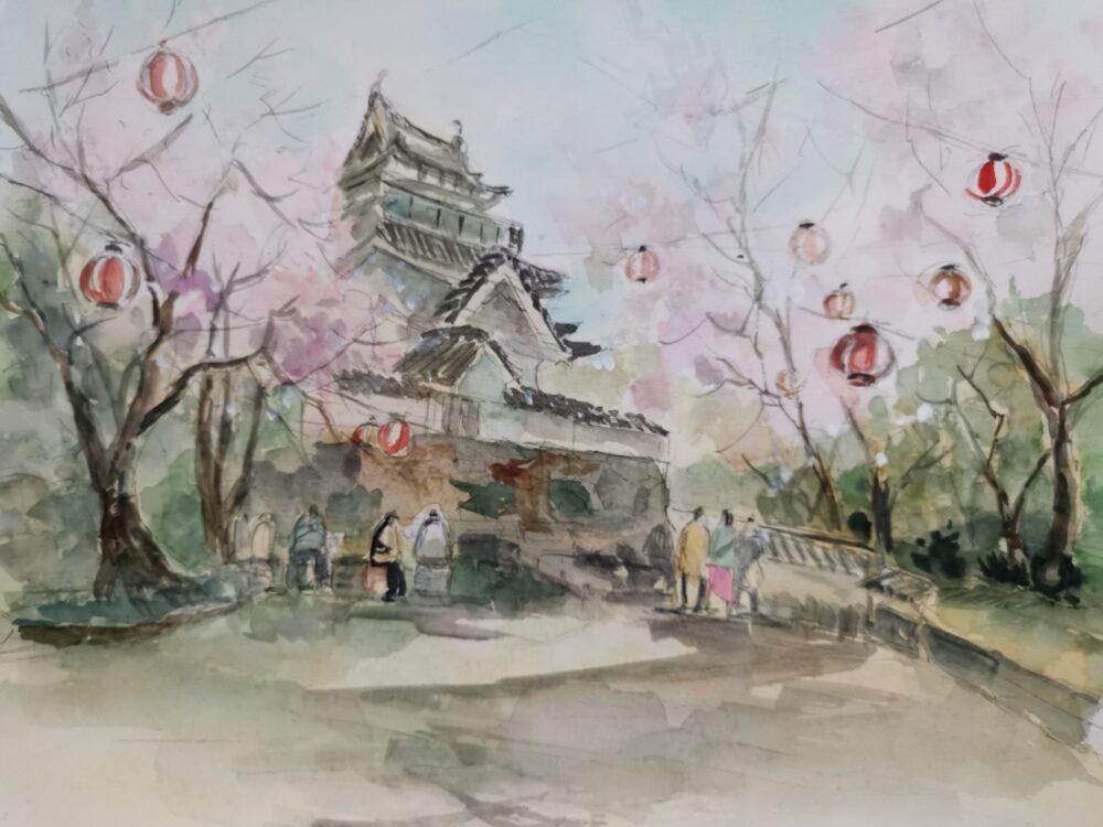 岡崎城(撫養城)と桜。スケッチ。