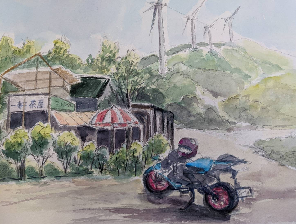 大川原高原のバイクと一軒茶屋と風力発電機のスケッチ