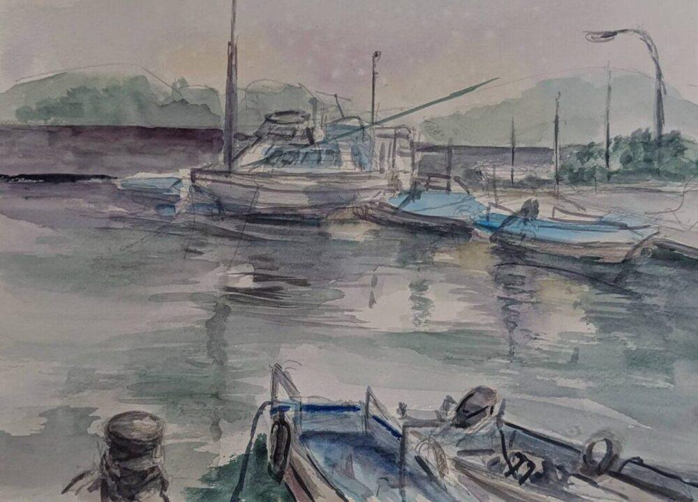 小松島漁港をスケッチ
