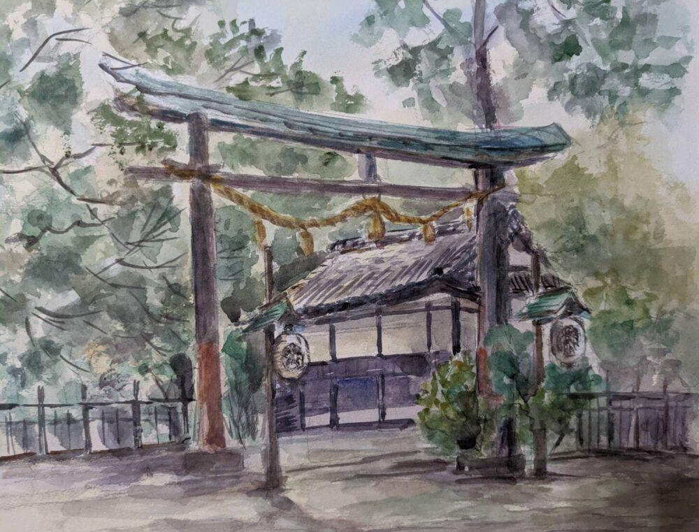 徳島県の忌部神社をスケッチ。ハハクラゲ作。