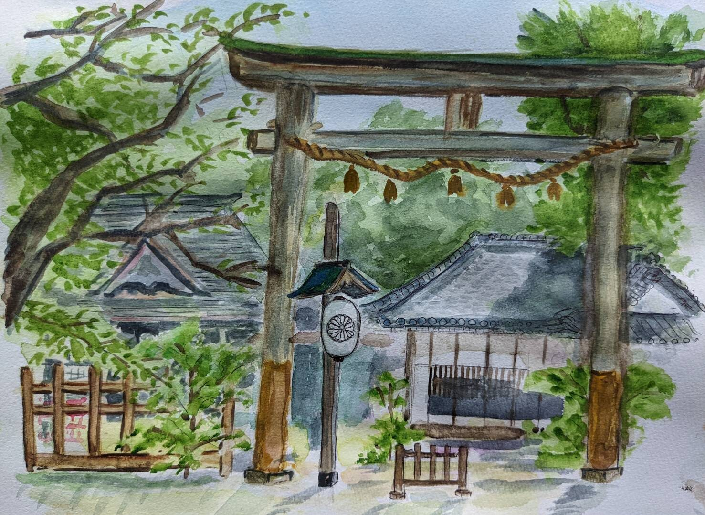 徳島県の忌部神社をスケッチ