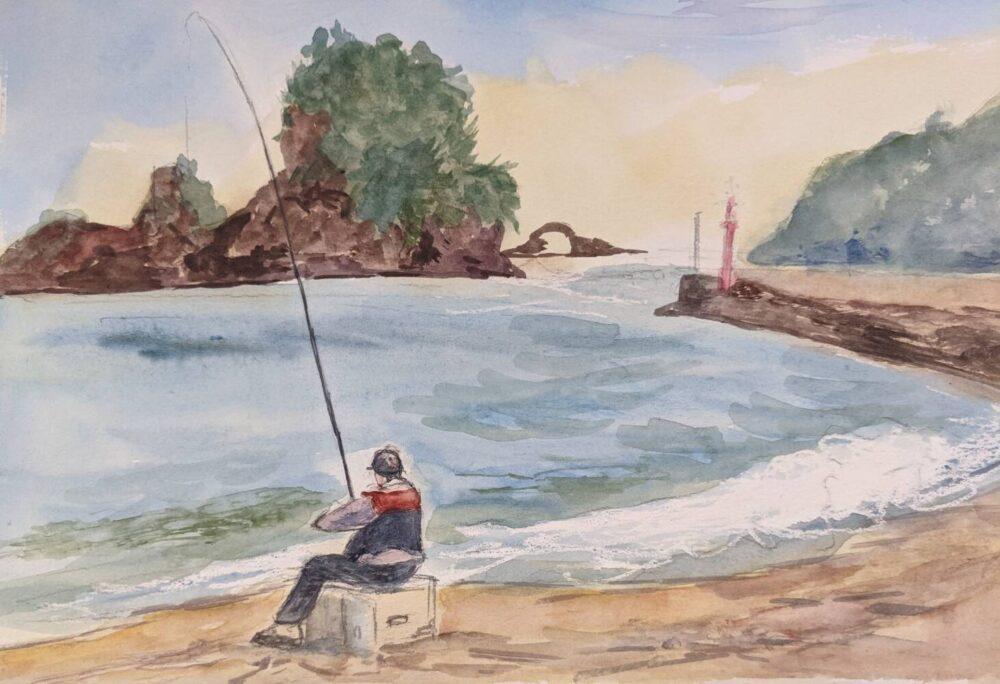 大浜海岸で釣り人をスケッチ