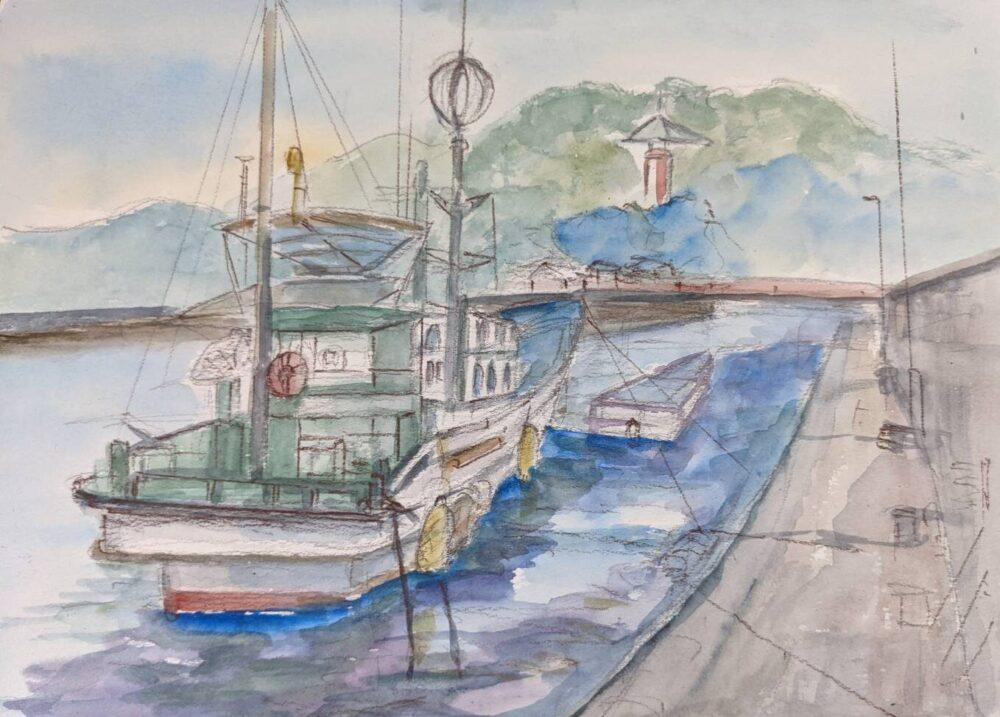 船と薬王寺をスケッチ
